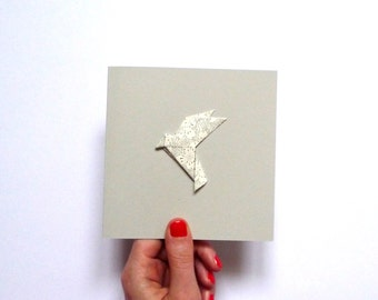 Origami bird grey card