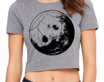 Women's GEOMOON Sacred Geometry CROP Tee Dodecahedron Psychedelic Tattoo Style Belly Shirt