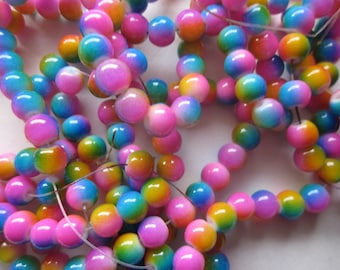 Colorful Round Glass Beads 8mm 24 Beads