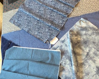 """16 pcs """"Blues"""" Cotton Quilting Fabrics. About 20 yrs old."""
