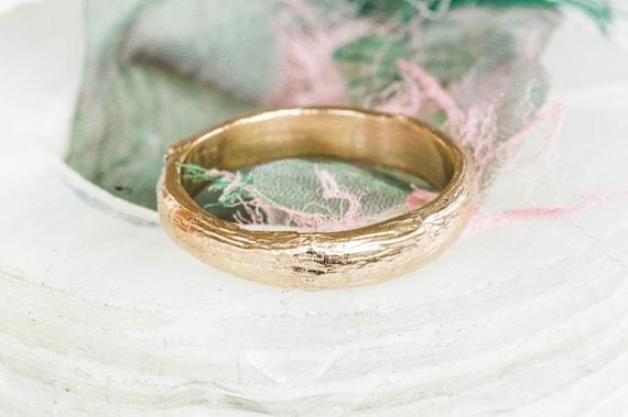 Thick 14k gold twig wedding band, mens wedding band, 14k twig band