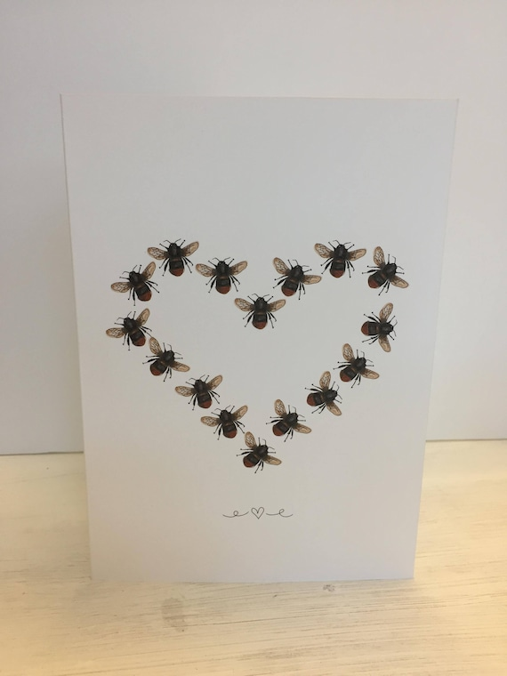 Manchester Bee heart Birthday, thank you, anniversary Greeting Card