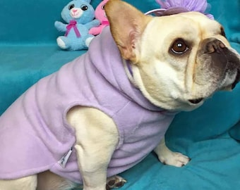 French Bulldog Pastel Purple Lilac  Fleece Hoodie