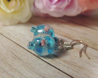 Blue with pink rose lampwork bead earrings