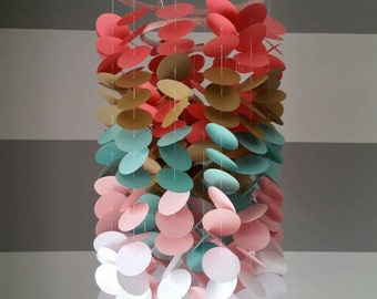 Paper mobile coral - gold - turquoise / aqua / mint - pale pink and white. decorative mobile for baby's room or girl child nursery