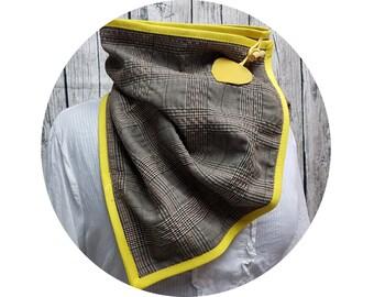 Wrap scarf, embroidered, xxl cloth, winter scarf, winter towel, winter, autumn, scarf, shawl, button scarf, brown, checkered, diamonds, viscose