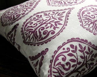 Deep Purple hand printed tree fern home decor decorative white linen pillow case