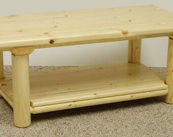 Log furniture Rustic Snow Creek 1/2 Log Coffee Table