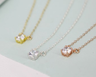Tiny CZ diamond necklace - Layering diamond necklace - sterling silver, gold-plated sterling or rose gold-plated sterling - charm necklace