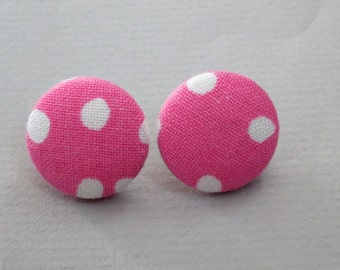 "3/4"" Size 30 Pink and White Dots Fabric Covered Button Earrings"