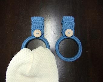 crocheted hand towel holders/rings set of 2, blue kitchen towel ring, hand towel holder, dorm room decor, RV towel holder, towel holders