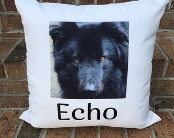 Personalized Pet Photo Pillow With Name | Pet Memorial | Dog Pillow | Cat Pillow | Pet Keepsake | Custom Pet Photo