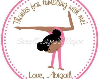 Gymnastics ( African American)  Favor Tags - Gymnastics Favor Tags - Dark Skinned Girl Gymnastics Favors - Gymnast Favors
