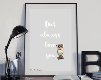 Owl Love You Forever - woodland creature art print Valentines Day gift