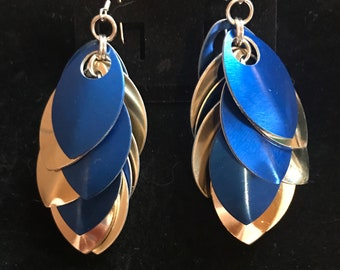 Blue/Gold Scalemaille Earrings with Sterling Silver Hooks