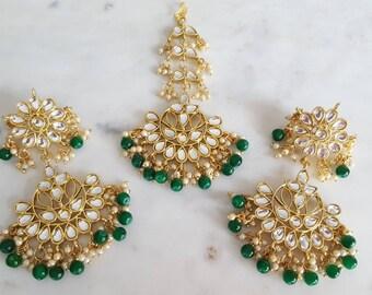 Green Kundan Earrings and Tikka Indian Jewelry Set - Net Dupatta, Indian Nose Ring, Jutti Shop, Indian Bangles, Kundan Jewelry, Nath, Chunni