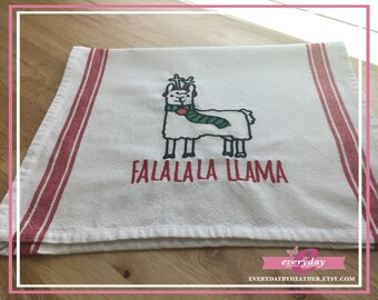 Llama Christmas Pun Tea Towel | Embroidered Tea Towel | Kitchen Towel | Embroidered Towel | Hand Towel | Dish Towel