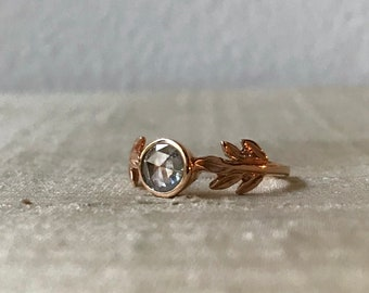 Rose-cut Diamond and 14kt Rose Gold- The Fire Leaf Ring