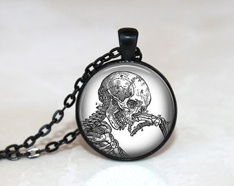 Skeleton Necklace Skull Necklace GlassTile Necklace Skull Jewelry Glass Tile Jewelry Halloween Jewelry Holiday Jewelry Brass Jewelry