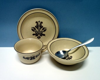 Vintage Pfaltzgraff dishes, plate cup and bowl set, Tan and Brown, 3 Piece Set, Antique