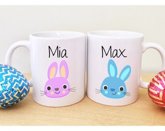 Easter mug etsy 2 easter mugs with names cute easter gifts for kids childrens easter gift unique mugs sugar negle Choice Image