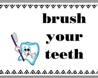 Bathroom Brush your Teeth glossy photo print quote 5x7 picture
