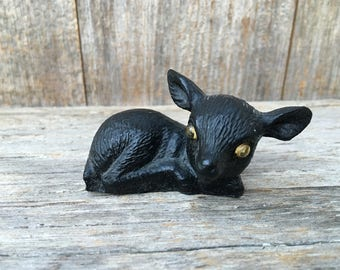 Hand Crafted Coal figurine Fawn, baby deer, U.S.A.  googly eyes