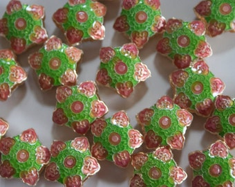 SALE Winter Snowflakes in Pink and Green   - Floral Cloisonne beads (2)