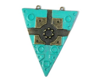 4 Hand Painted Turquoise Triangle Pendant 60 x 47mm