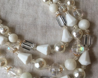Vintage W. Germany 3 Strand Necklace, White, Faux Pearl, Plastic, Glass, KC027