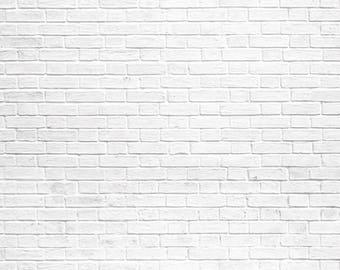 Vinyl Backdrop white Brick Wall / White Brick Wall Photography Backdrop (V0911)