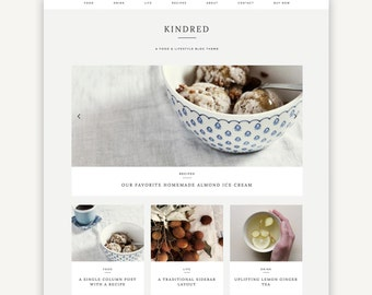 Responsive Wordpress Theme | Kindred | Food Blog Theme Design | Self-Hosted WordPress.org | Genesis Child Theme
