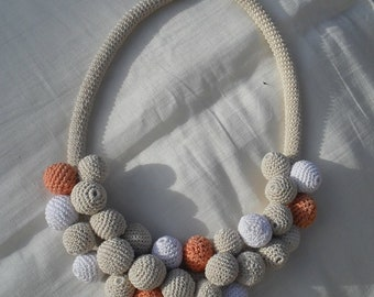 Cotton Necklace with beads.