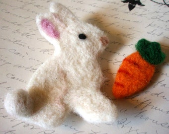 Easter Set - Needle Felted White Rabbit and Orange Carrot - Custom Color Spring Bunny and Carrot Set - Felted Easter Bunny and Woolen Carrot