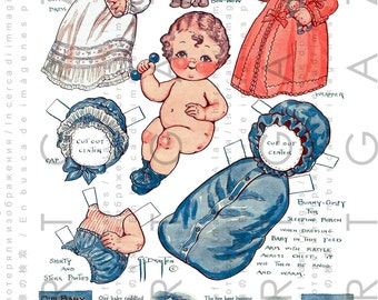 Dolly Dingle's Nephew Cute Baby Paper Doll. Vintage Paper Doll Digital Download. Vintage Dress Up Baby Doll.