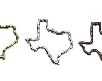 Lovely Bead TEXAS State Cut Out (Outline)  Pendant Lead Free Pewter  (46mm)