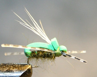 Fly Fishing Flies - Made in Michigan - Grasshopper Imitation - Green Foam and Dubbing - Rubber Legs - White Deer Hair Wing - No. 12 Hook