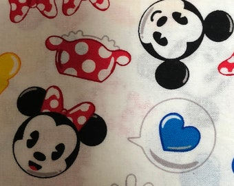 Fabric by the Yard - Disney Mickey and Minnie Mouse emoji icons
