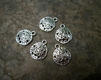 Small Sand Dollar charms in antique silver finish Package of 5 charms Beach theme charms