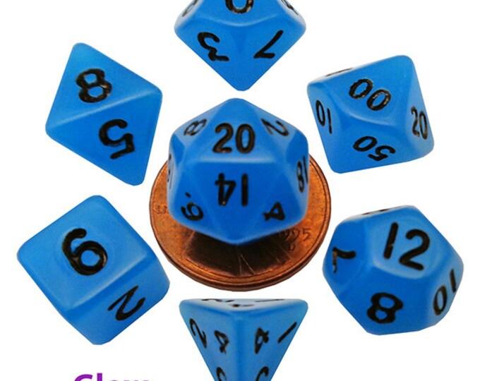 7-Die Set Glow: 10mm Blue/Black - MTD4302 - Metallic Dice Games