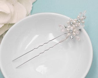 Swarovski crystal freshwater pearl wedding hair pin, bridal hair accessories, pearl rhinestone hairpin, Amia Pearl Hairpin