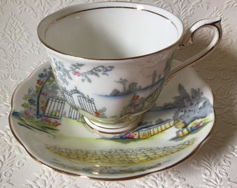 """Vintage 1930's Royal Albert hand painted """"Rosedale"""" teacup and saucer #2480"""