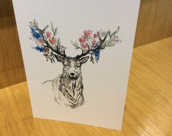 Floral stag card