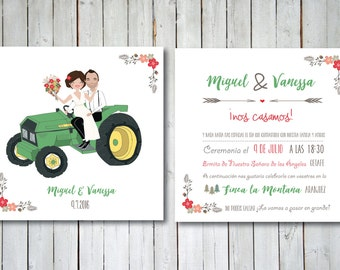Custom Illustrated Wedding Invitation with Vehicle