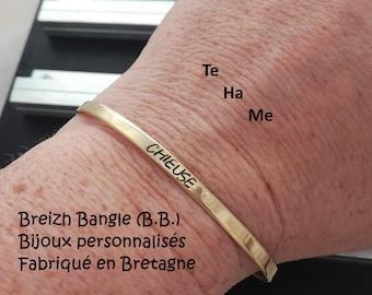 "Bangle Bracelet ""Bangle Breizh"" slim personalized jewel in brass (metal)"