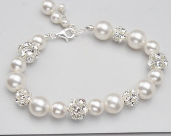 Pearl and Rhinestone Wedding Bracelet, Swarovski Rhinestone and Pearl Bridal Jewelry, Handmade Wedding Jewelry