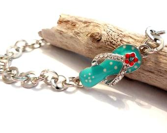 Blue Flip Flops Bracelet, Flip Flops Jewelry, Silver Chain Link Bracelet, Summer Bracelet, Summer Jewelry, Beach Bracelet, Jewelry Gift