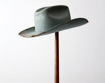 1950s Always on Top cowboy hat, vintage distressed blue western hat