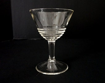Set of Seven Cocktail Martini Glasses / 30s / 40s / Concentric Rings