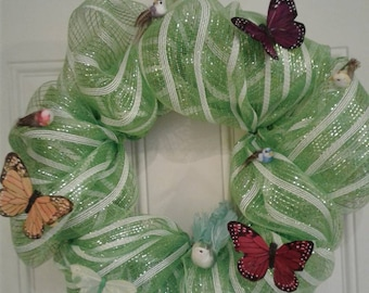 Green spring butterflies and birds wreath